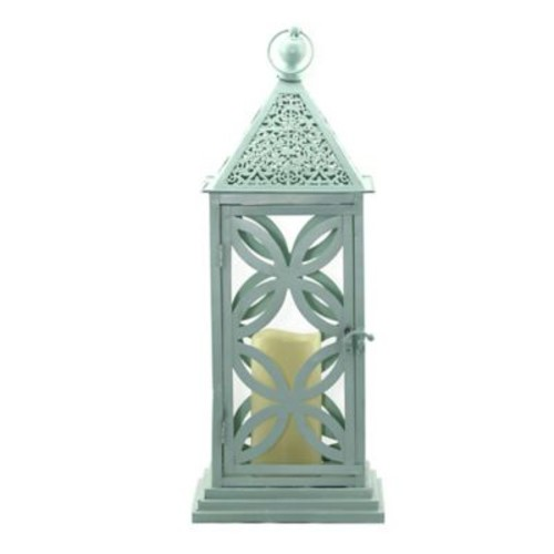 Bungalow Rose Medallion Metal Lantern; Mist