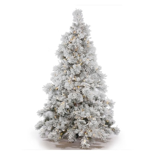 Vickerman Pre-Lit 6.5' Flocked Alberta Artificial Christmas Tree with Cone, Dura-Lit, Clear Lights