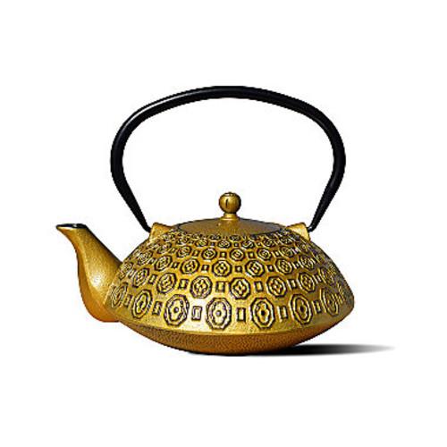 Dutch 37 Oz Gold and Black Cast Iron Ritchi Teapot
