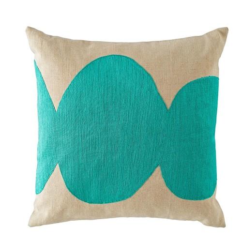 Mod Botanical Throw Pillow (Aqua)