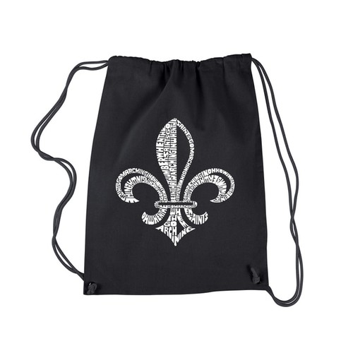 Los Angeles Pop Art Black Cotton Drawstring Backpack with Lyrics to 'When the Saints go Marching in'