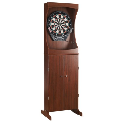 Hathaway Outlaw Free Standing Dartboard u0026 Cabinet Set - Cherry Finish