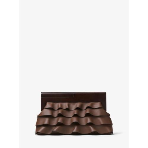 Stanwyck Ruffled Leather Clutch