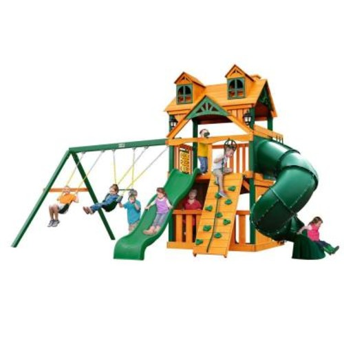 Gorilla Playsets Malibu Extreme Clubhouse Cedar Swing Set with Timber Shield Posts