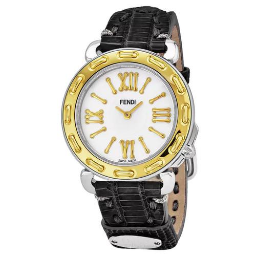 Fendi Women's F8001345H0.TS01 'Selleria' Mother of Pearl Dial Black Leather Strap Swiss Quartz Watch - Women's
