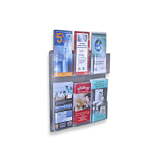 Azar Displays Wall-Mount Brochure Holders, 6 Pockets, 15