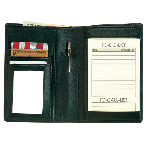 Genuine Leather Royce 'Things To Do' Note Jotter and Passport Travel Wallet [option : Black]