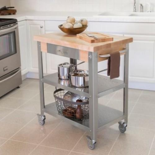 John Boos Elegante Wood Top Kitchen Cart