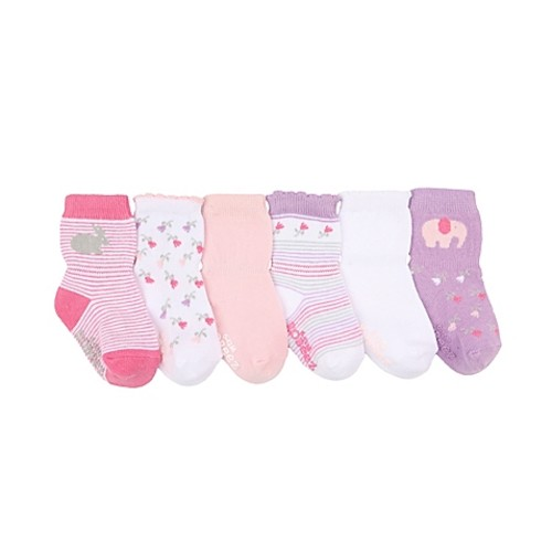 Robeez Size 0-6M 6-Pack Baby's Favorite Socks in Pink