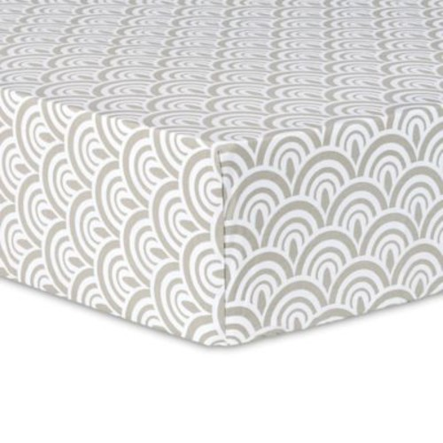 Trend Lab Art Deco Scallop Fitted Crib Sheet in Grey/White