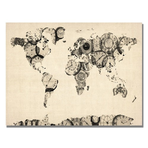 Trademark Global Michael Tompsett 'Old Clocks World Map' Canvas Art [Overall Dimensions : 18x24]