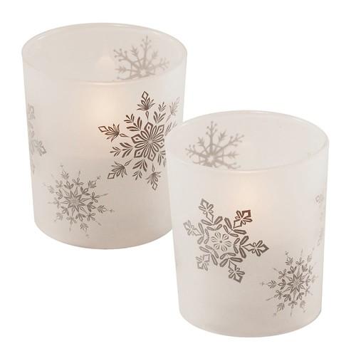 LumaBase Snowflake LED Candle 2-piece Set