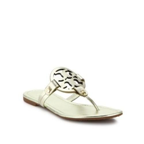 Miller Metallic Leather Thong Sandals