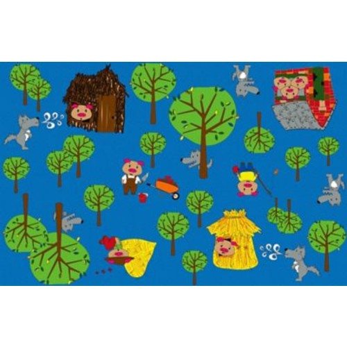 Kid Carpet Huff and Puff Nursery Blue/Green Area Rug; 12' x 18'