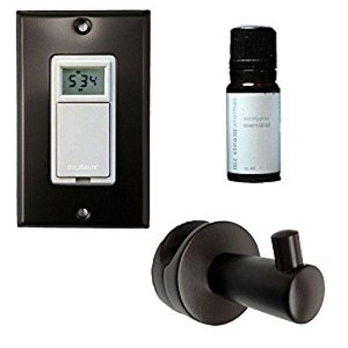Mr. Steam WT VALET ORB Series 200 Valet Package with Robe Hook, Essential Oil, and Digital Timer with Cover Plate, Oil Rubbed Bronze