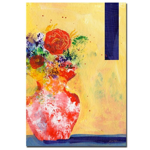 Trademark Global Sheila Golden 'Red Vase' Canvas Art [Overall Dimensions : 18x24]