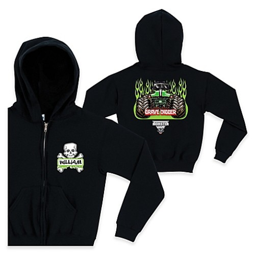 Monster Jam Crossbones Size 2T Full-Zip Hoodie in Black