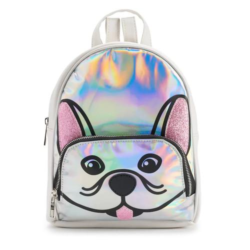 Glitter French Bulldog Face Hologram Mini Backpack