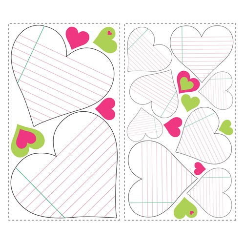 RoomMates RMK1609SCS Heart Notepad Dry Erase Peel & Stick Wall Decals