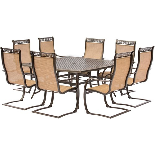 Hanover Manor 9-Piece Aluminum Square Outdoor Dining Set with Spring Sling Chairs and Cast-Top Table