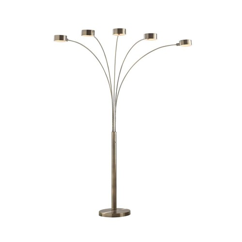 ARTIVA Micah 88 in. Antique Satin Brass LED 5-Arc Floor Lamp with Dimmer