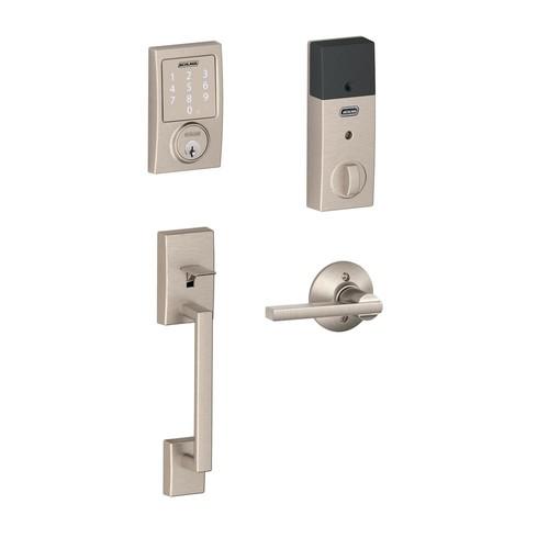 Schlage Sense Satin Nickel Century Smart Lock and Handleset with Latitude Lever