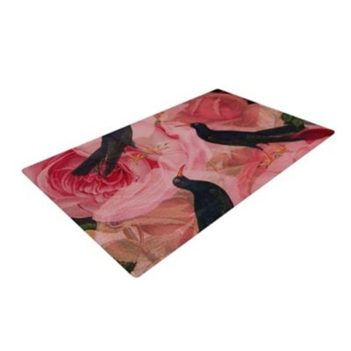 East Urban Home Suzanne Carter Song Bird Cush Red/Black Area Rug; 2' x 3'