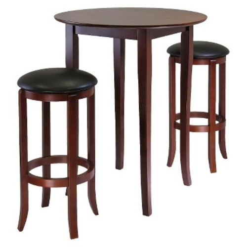3 Piece Fiona High Table Set with 2 Swivel Stools Wood/Antique Walnut - Winsome