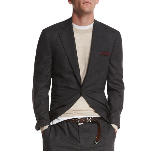 BRUNELLO CUCINELLI Textured Two-Button Wool Blazer, Charcoal