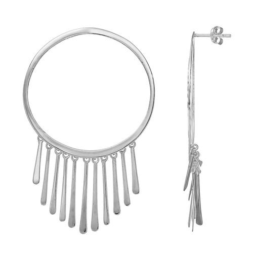 Dangle Hoop Earrings in Sterling Silver