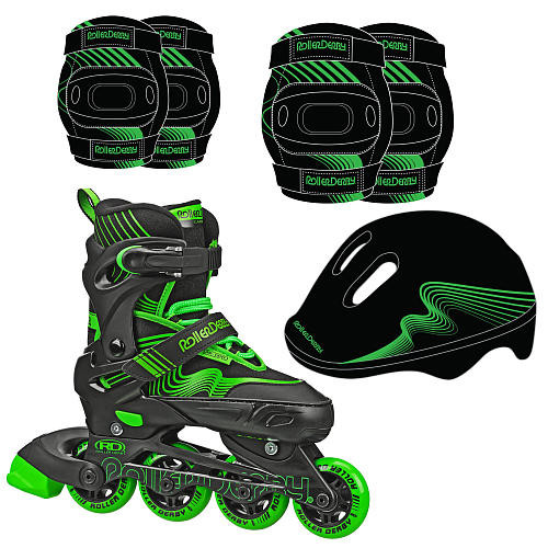 Roller Derby Carver Inline Combo Skate and Protective Gear Boys Medium - Green