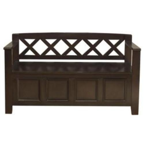 Simpli Home Amherst Dark Brown Storage Bench