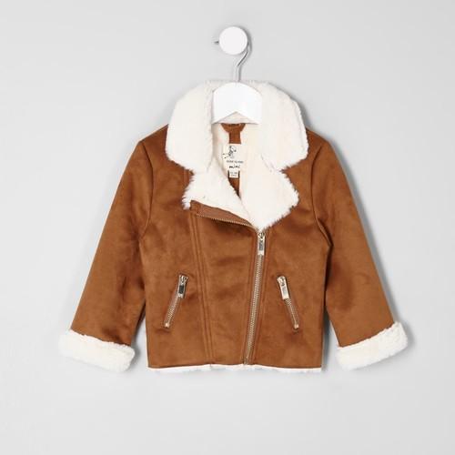 Mini girls tan faux shearling biker jacket