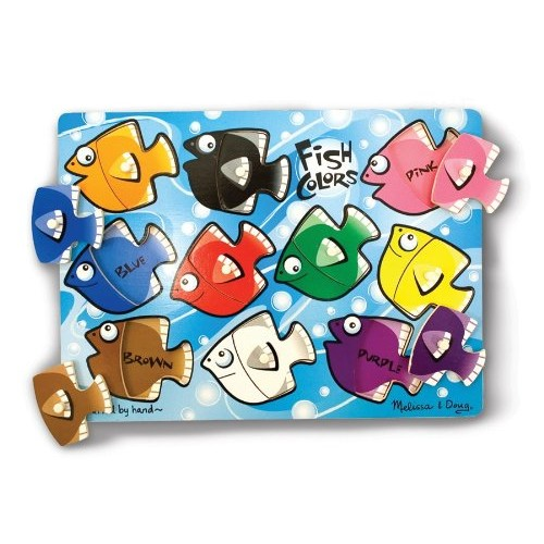 Melissa & Doug Fish Colors Mix 'n Match Wooden Peg Puzzle (10 pcs)