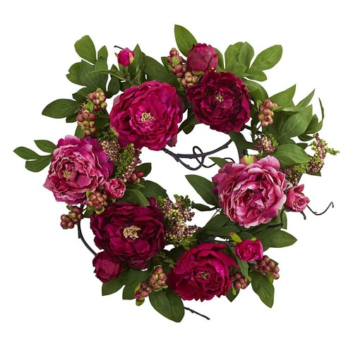 Nearly Natural 20 in. Peony and Berry Wreath