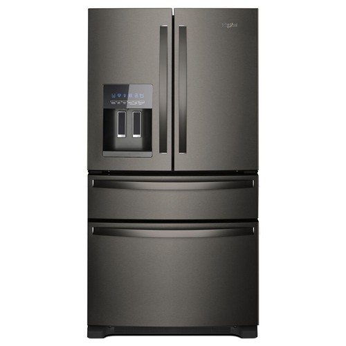Whirlpool 36 in. W 25 cu. ft. French Door Refrigerator in Fingerprint Resistant Black Stainless