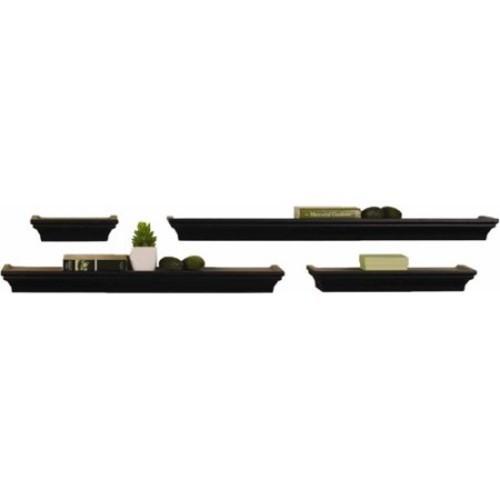 Melannco Black Wall Shelves, Set of 4