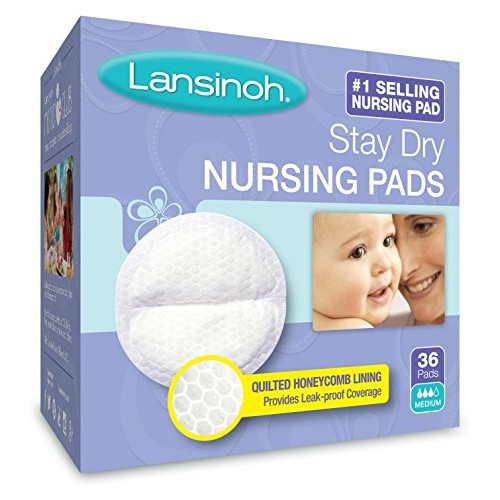 Lansinoh Stay Dry Disposable Nursing Pads, Number One Selling Breastfeeding Pad For Breastfeeding Mothers, Leak Proof Protection, Maximum Comfort and Discretion, 36 Count [36 Count]