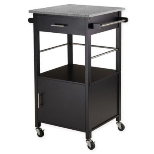 Winsome Trading Davenport Kitchen Cart in Black