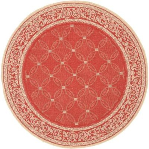 Safavieh Courtyard Red/Natural 5 ft. 3 in. x 5 ft. 3 in. Indoor/Outdoor Round Area Rug