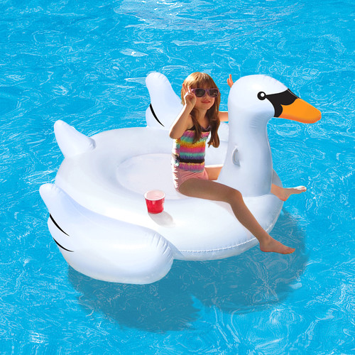 Blue Wave Elegant Giant Swan 73-in Inflatable Ride-On Pool Float