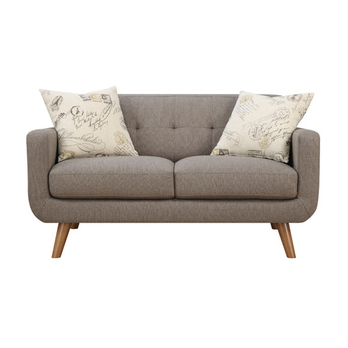 Emerald Remix Brown Loveseat with Two Accent Pillows