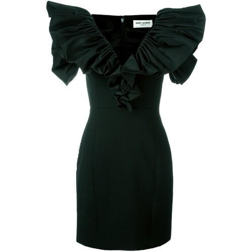 SAINT LAURENT Ruched Sleeve Mini Dress