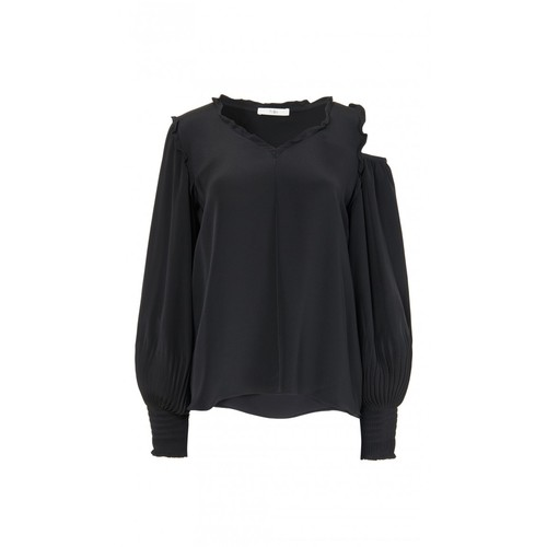 TIBI Edwardian Silk Open Shoulder Top