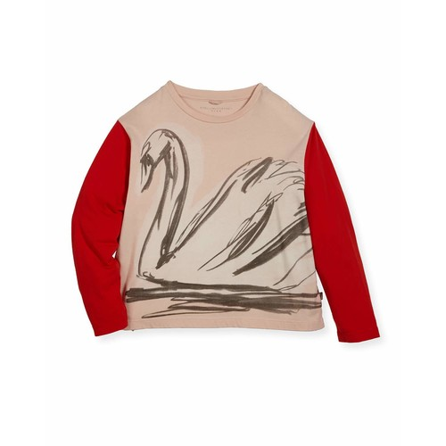 STELLA MCCARTNEY Farah Swan Sketch Tee W/ Contrast Long-Sleeves, Size 4-14