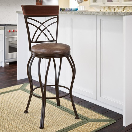 CorLiving Jericho 30 in. Metal Bar Stool with Swivel Rustic Brown Bonded Leather Seat