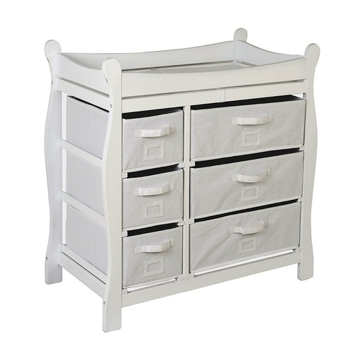 Badger Basket Baby Changing Table with Six Baskets, White [White]