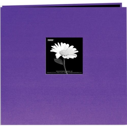 Pioneer 12-Inch by 12-Inch Book Cloth Cover Postbound Album with Window, Grape Purple [Grape Purple, 12