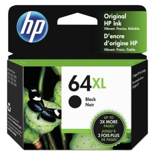 HP 64XL Black High Yield Original Ink Cartridge, 600 Page-Yield (N9J92AN#140)