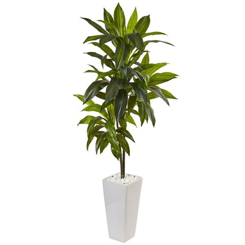 Nearly Natural Indoor Dracaena Artificial Plant in White Tower Planter